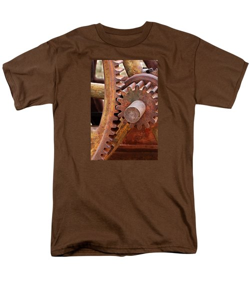 Men's T-Shirt  (Regular Fit) featuring the photograph Rusty Metal Gears by Phyllis Denton