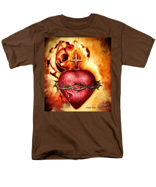 Sacred Heart Of Jesus Christ With Rose Men's T-Shirt  (Regular Fit) by Annie Zeno