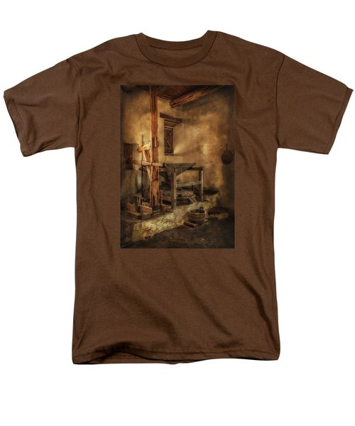 Men's T-Shirt  (Regular Fit) featuring the photograph San Jose Mission Mill by Priscilla Burgers
