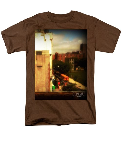 Men's T-Shirt  (Regular Fit) featuring the photograph School Bus - New York City Street Scene by Miriam Danar