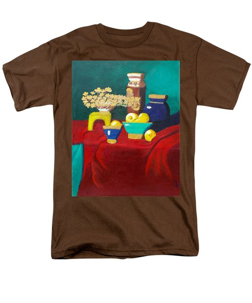 Men's T-Shirt  (Regular Fit) featuring the painting Seafoam Green On Red Velvet by Margaret Harmon