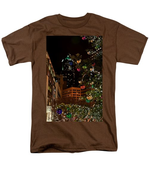 Men's T-Shirt  (Regular Fit) featuring the photograph Seattle Downtown Christmas Time Art Prints by Valerie Garner