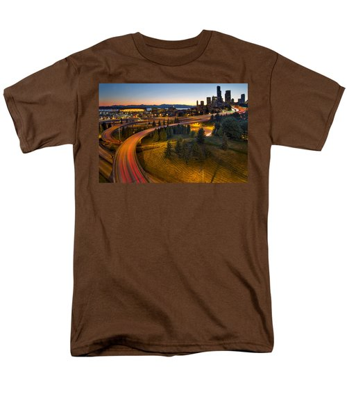 Men's T-Shirt  (Regular Fit) featuring the photograph Seattle Downtown Highway Traffic Light Trails by JPLDesigns