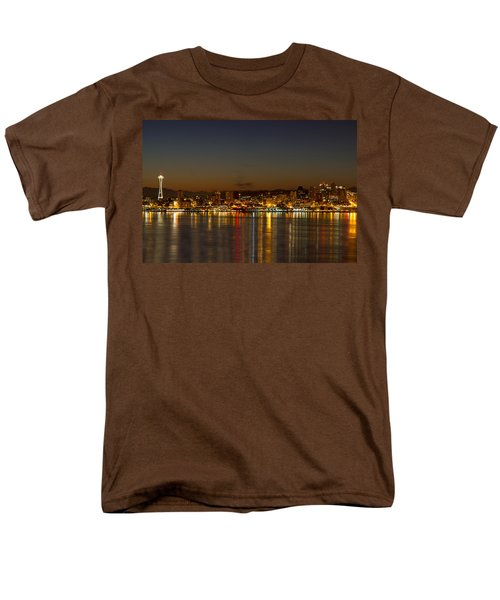Men's T-Shirt  (Regular Fit) featuring the photograph Seattle Downtown Skyline Reflection At Dawn by JPLDesigns
