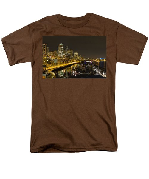 Men's T-Shirt  (Regular Fit) featuring the photograph Seattle Downtown Waterfront Skyline At Night Reflection by JPLDesigns
