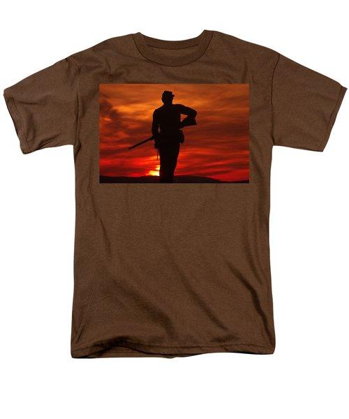 Men's T-Shirt  (Regular Fit) featuring the photograph Sky Fire - 111th New York Infantry Hancock Avenue Brian Farm Cemetery Ridge Sunset Winter Gettysburg by Michael Mazaika