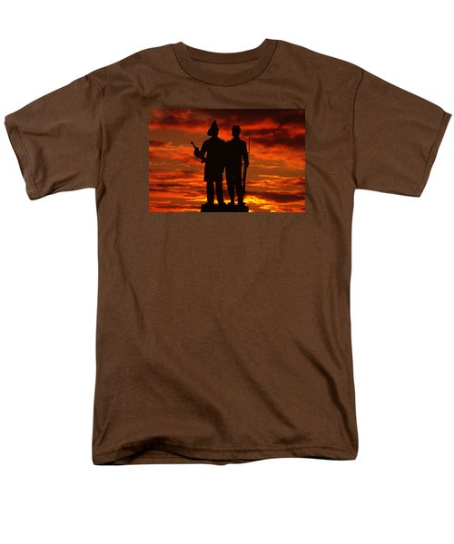 Sky Fire - 73rd Ny Infantry Fourth Excelsior Second Fire Zouaves-a1 Sunrise Autumn Gettysburg Men's T-Shirt  (Regular Fit) by Michael Mazaika