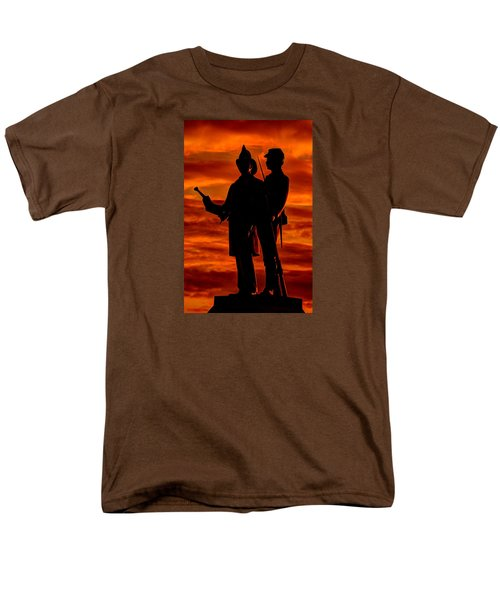 Sky Fire - 73rd Ny Infantry Fourth Excelsior Second Fire Zouaves-b1 Sunrise Autumn Gettysburg Men's T-Shirt  (Regular Fit) by Michael Mazaika
