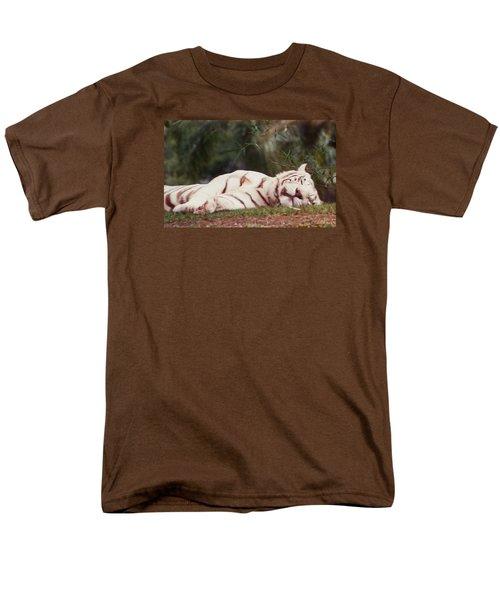 Sleeping White Snow Tiger Men's T-Shirt  (Regular Fit) by Belinda Lee