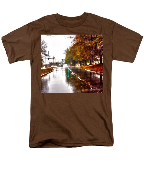 Men's T-Shirt  (Regular Fit) featuring the photograph Slick Streets Rainy View by Lesa Fine