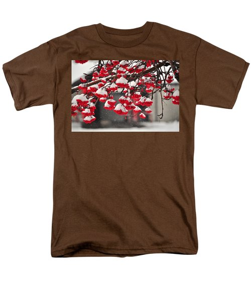 Men's T-Shirt  (Regular Fit) featuring the photograph Snowy Mountain Ash Berries by Fran Riley
