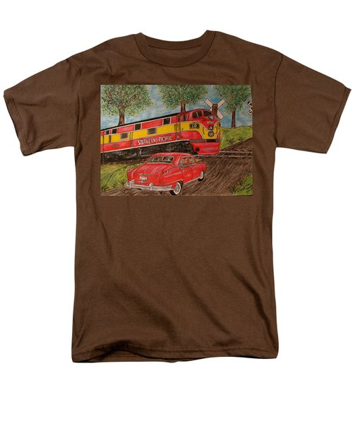 Men's T-Shirt  (Regular Fit) featuring the painting Southern Pacific Train 1951 Kaiser Frazer Car Rr Crossing by Kathy Marrs Chandler