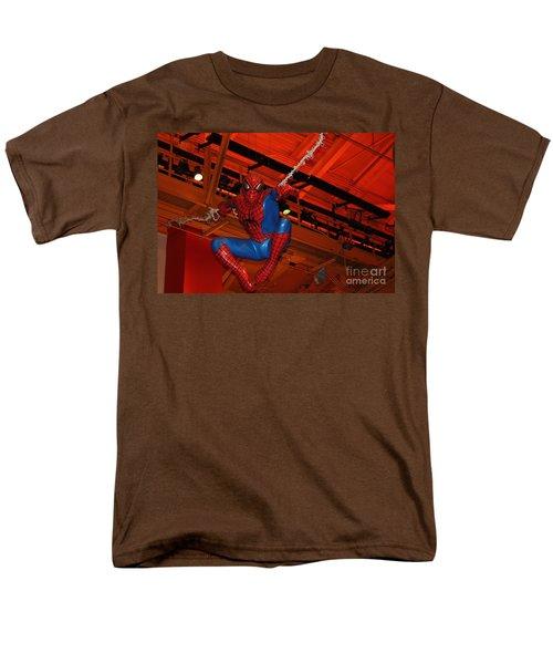 Spiderman Swinging Through The Air Men's T-Shirt  (Regular Fit) by John Telfer