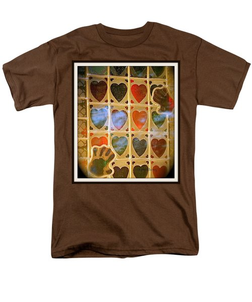 Stained Glass Hands And Hearts Men's T-Shirt  (Regular Fit) by Kathy Barney