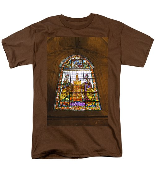 Stained Glass Window In Seville Cathedral Men's T-Shirt  (Regular Fit) by Tony Murtagh