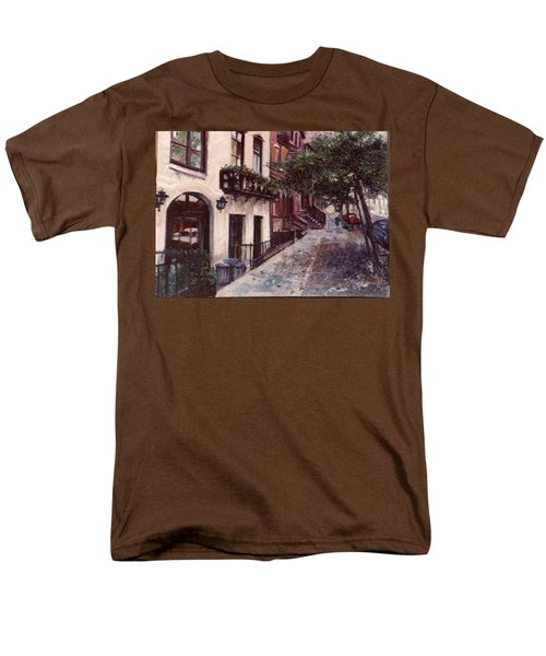 Men's T-Shirt  (Regular Fit) featuring the painting street in the Village NYC by Walter Casaravilla