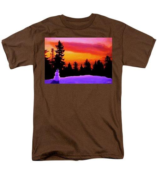 Sun Setting On Snow Men's T-Shirt  (Regular Fit) by Sophia Schmierer