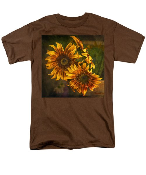 Men's T-Shirt  (Regular Fit) featuring the photograph Sunflower Trio by Priscilla Burgers