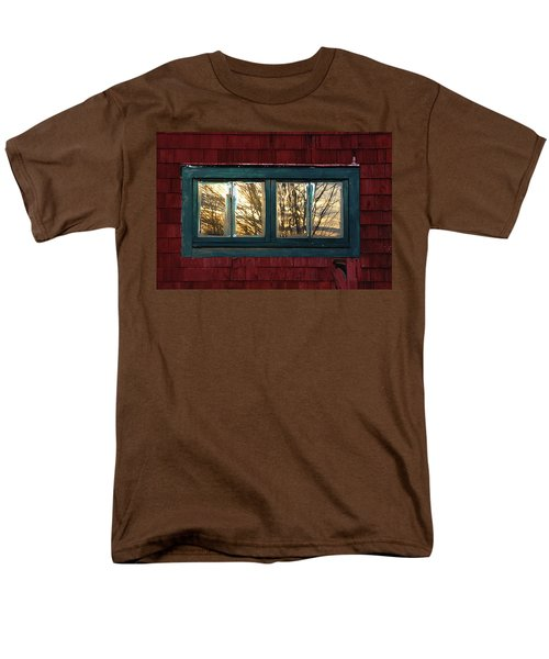 Men's T-Shirt  (Regular Fit) featuring the photograph Sunrise In Old Barn Window by Susan Capuano