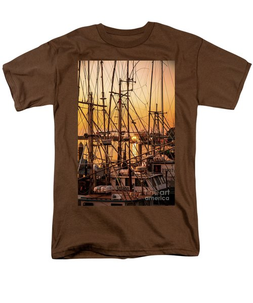Sunset Boat Masts At Dock Morro Bay Marina Fine Art Photography Print Sale Men's T-Shirt  (Regular Fit) by Jerry Cowart