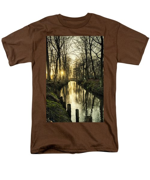 Sunset Over Stream Men's T-Shirt  (Regular Fit) by Mike Santis