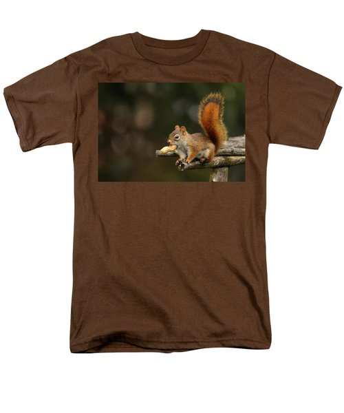 Surprised Red Squirrel With Nut Portrait Men's T-Shirt  (Regular Fit) by Debbie Oppermann