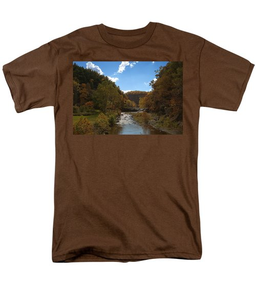 Men's T-Shirt  (Regular Fit) featuring the photograph Taughannock Lower Falls Ithaca New York by Paul Ge