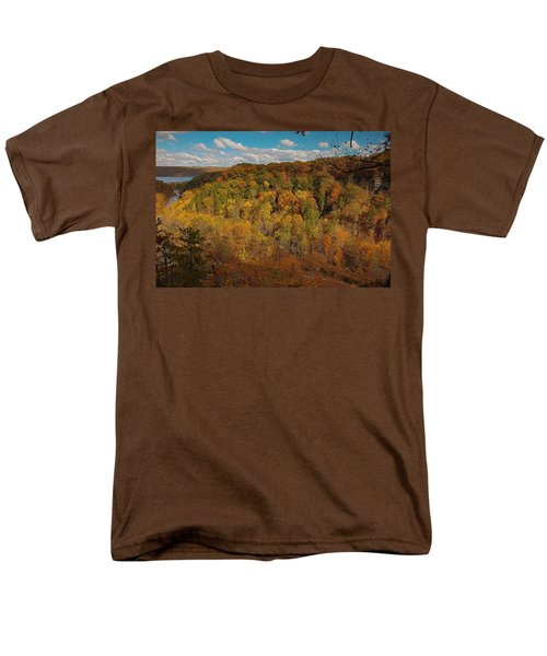 Men's T-Shirt  (Regular Fit) featuring the photograph Taughannock River Canyon In Colorful Fall Ithaca New York II by Paul Ge