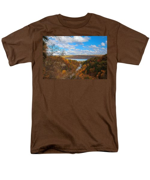 Men's T-Shirt  (Regular Fit) featuring the painting Taughannock River Canyon In Colorful Fall Ithaca New York Iv by Paul Ge