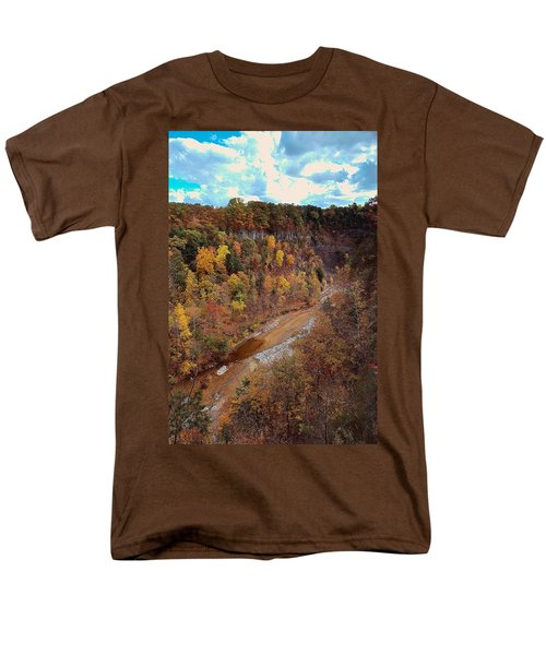 Men's T-Shirt  (Regular Fit) featuring the painting Taughannock River Canyon In Colorful Fall Ithaca New York V by Paul Ge