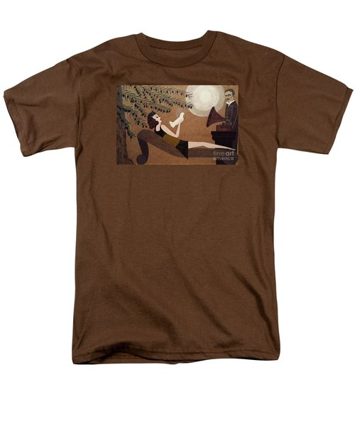 Men's T-Shirt  (Regular Fit) featuring the painting Tesla And White Dove by Jasna Gopic
