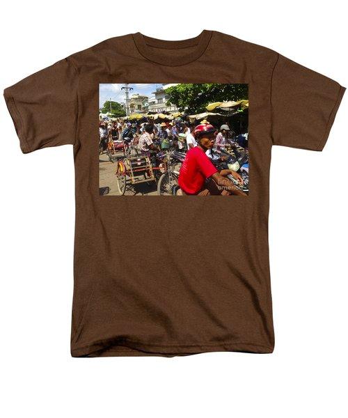 Men's T-Shirt  (Regular Fit) featuring the photograph The Bustling Traffic On 27th Street Zay Cho Street Market Mandalay Burma by Ralph A  Ledergerber-Photography