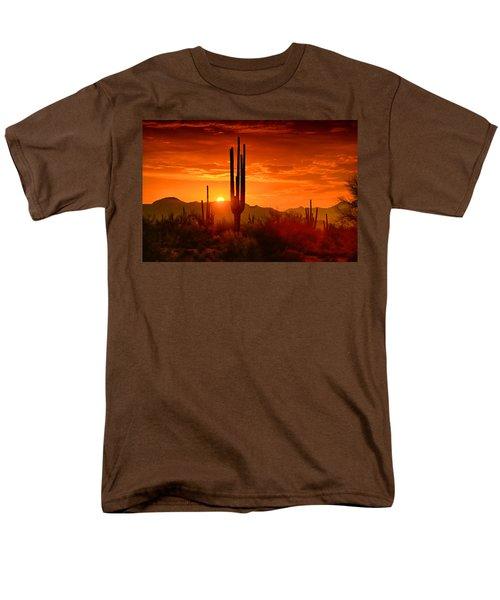 The Golden Southwest Skies  Men's T-Shirt  (Regular Fit) by Saija  Lehtonen