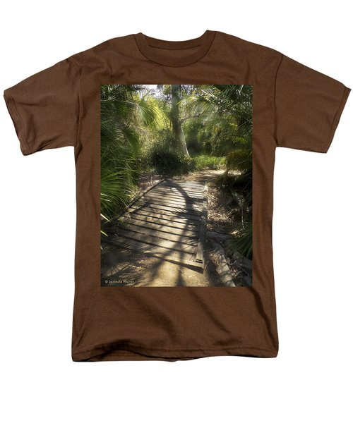 Men's T-Shirt  (Regular Fit) featuring the photograph The Journey Along The Path Comes With Light And Shadows by Lucinda Walter