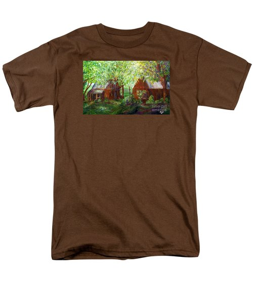 Men's T-Shirt  (Regular Fit) featuring the painting The Old Swing Between The House And The Barn by Eloise Schneider