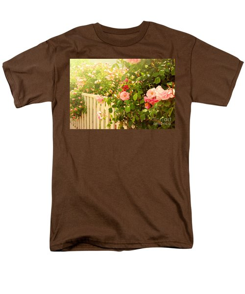 The Scent Of Roses And A White Fence Men's T-Shirt  (Regular Fit) by Sabine Jacobs