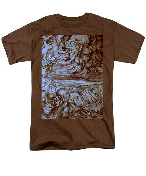 Men's T-Shirt  (Regular Fit) featuring the drawing Titan In Desert by Mikhail Savchenko