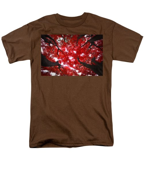 Men's T-Shirt  (Regular Fit) featuring the photograph Tree Light - Maple Leaves Fall Autumn Red by Jon Holiday