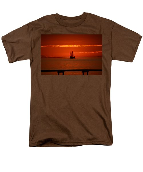 Men's T-Shirt  (Regular Fit) featuring the photograph Two 3-masted Schooners Sail Off Into The Santa Rosa Sound Sunset by Jeff at JSJ Photography