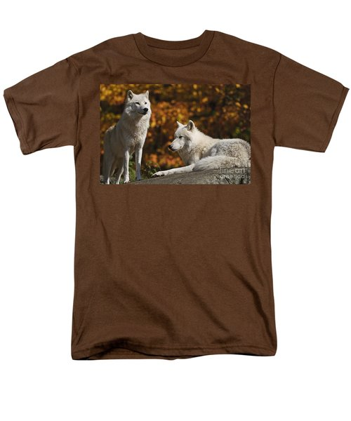 Men's T-Shirt  (Regular Fit) featuring the photograph Two Arctic Wolves On Rock Hill by Wolves Only