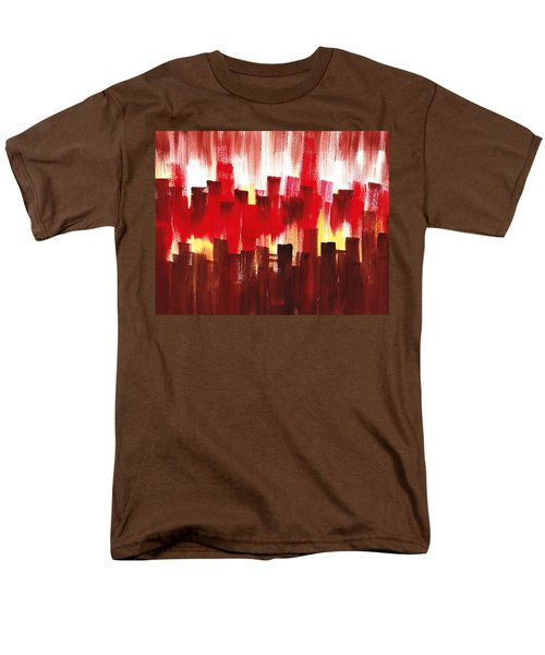 Men's T-Shirt  (Regular Fit) featuring the painting Urban Abstract Evening Lights by Irina Sztukowski