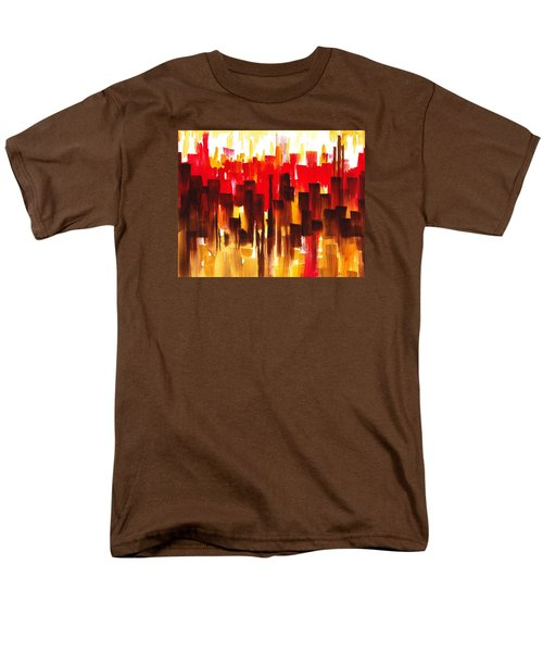 Men's T-Shirt  (Regular Fit) featuring the painting Urban Abstract Glowing City by Irina Sztukowski