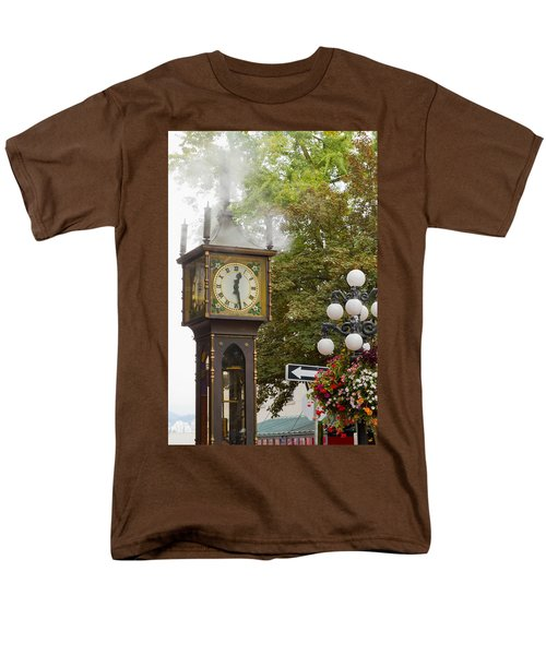 Men's T-Shirt  (Regular Fit) featuring the photograph Vancouver Bc Historic Gastown Steam Clock by JPLDesigns