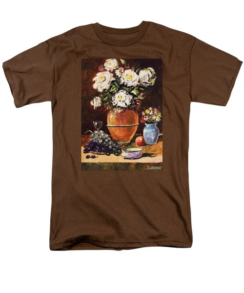 Men's T-Shirt  (Regular Fit) featuring the painting Vase Of Flowers And Fruit by Al Brown