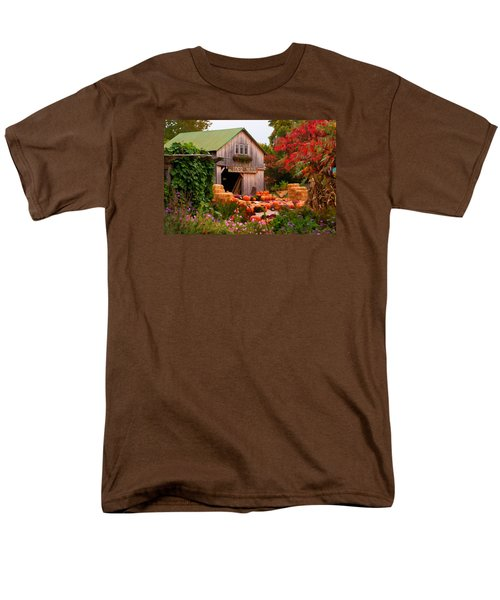 Vermont Pumpkins And Autumn Flowers Men's T-Shirt  (Regular Fit) by Jeff Folger