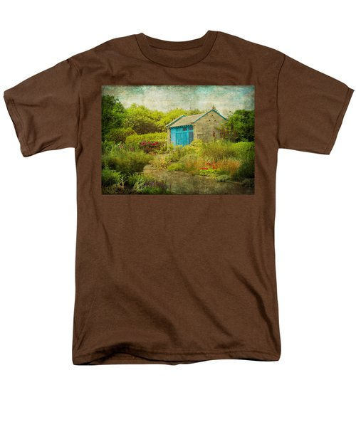 Vintage Inspired Garden Shed With Blue Door Men's T-Shirt  (Regular Fit) by Brooke T Ryan