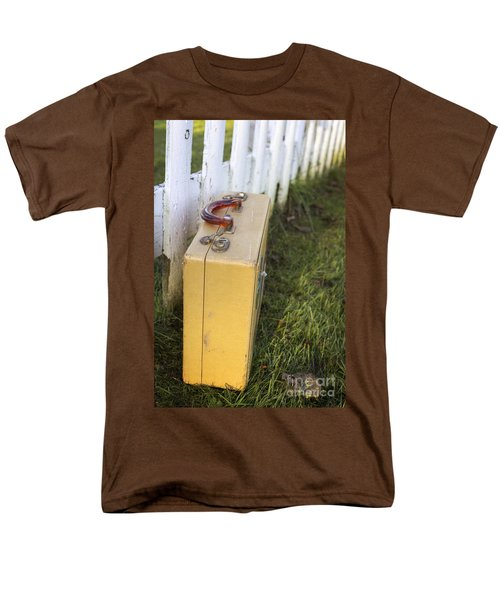 Vintage Luggage Left By A White Picket Fence Men's T-Shirt  (Regular Fit) by Edward Fielding