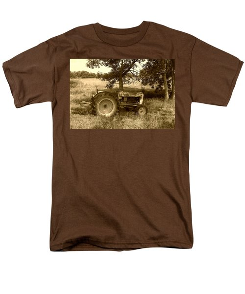 Men's T-Shirt  (Regular Fit) featuring the photograph Vintage Tractor In Sepia by Cynthia Lassiter