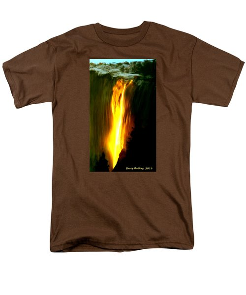 Men's T-Shirt  (Regular Fit) featuring the painting Waterfalls By Light by Bruce Nutting