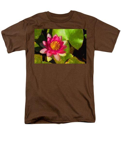 Waterlily Impression In Fuchsia And Pink Men's T-Shirt  (Regular Fit) by Georgia Mizuleva